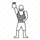 circus, line, man, outline, retro, strong, strongman icon