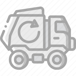 amenities, bin, city, council, lorry, recycle, services icon