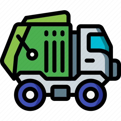 amenities, bin, council, lorry, rubbish, services, trash icon