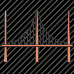 bridgework, brige, cable-stayed bridge, city, construction, town icon