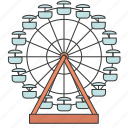 amusement park, attraction, building, city, ferris wheel icon