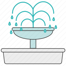 city, font, fountain, park, water, waterworks icon