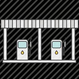 car, gas, gas station, geyser, petrol, refill, refueling icon
