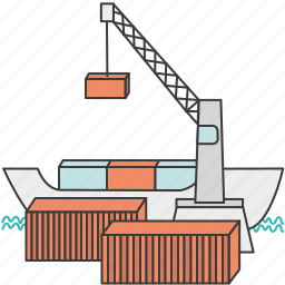 container, harbor, port, ship, shipping, tanker, waterfront icon