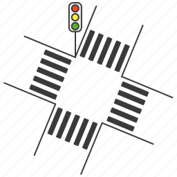 crossing, crossroad, intersection, road, traffic light, zebra icon