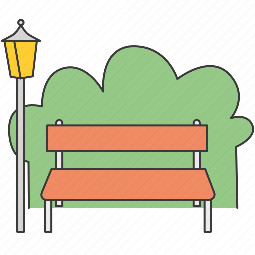 bench, lamp, nature, park, parkland, recreation, tree icon