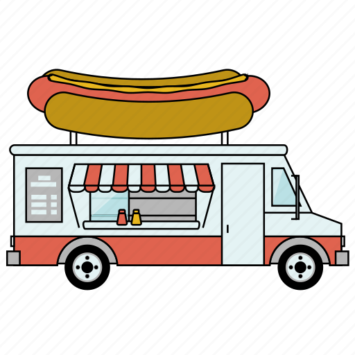 car, food, hot dog, shop, small business, truck icon