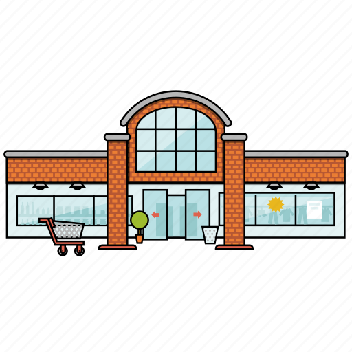 building, cart, commerce, location, market, store, supermarket icon