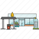 buiilding, building, city, construction, fuel, gas station, petrol icon