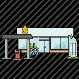 buiilding, construction, gas, gas station, petrol, petrol station, shop icon