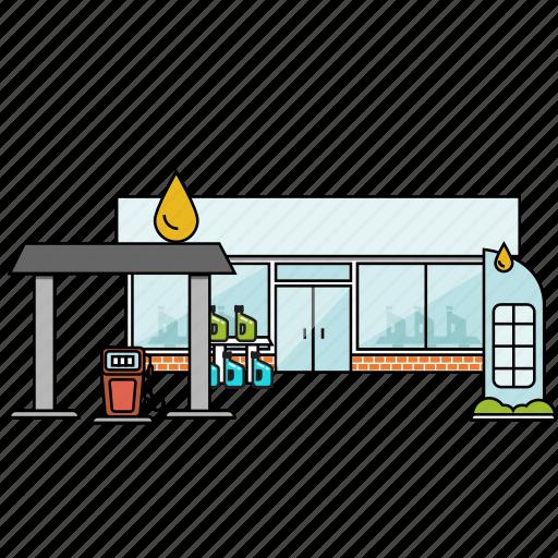 buiilding, building, city, construction, fuel, gas station, petrol icon
