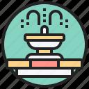 architecture, fountain, garden, tourism, water icon