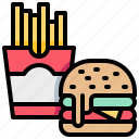 burger, fastfood, french, fries, hamburger icon
