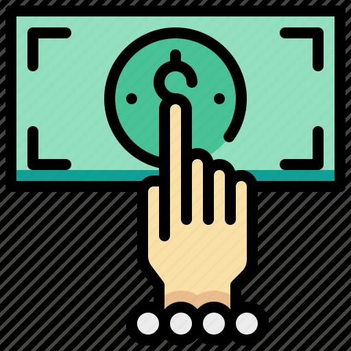 dollar, hand, money, spending icon