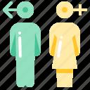 man, restroom, sign, woman icon