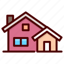 bungalows, cabins, cottages, houses, villas icon