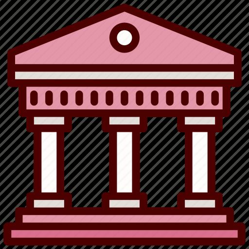 building columns building, bureau, pantheon, rome icon