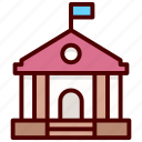 bank, school building, building, courthouse, institute icon