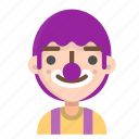 avatar, clown, emoji, emoticon, face, man, people icon