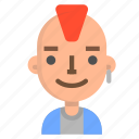 avatar, emoji, emoticon, face, man, people, punk icon