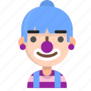 avatar, clown, emoji, emoticon, face, people, woman icon
