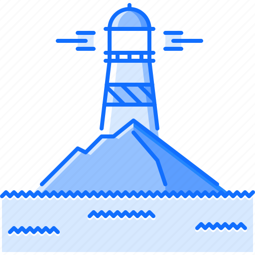 architecture, building, island, light, lighthouse, sea, water icon