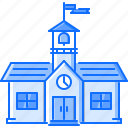 architecture, building, clock, flag, school, university icon