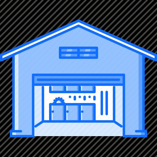 architecture, building, car, garage, tool, workshop icon