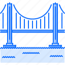 architecture, bridge, building, road, sea, water icon