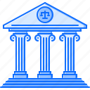 architecture, bank, building, court, judge, justice icon
