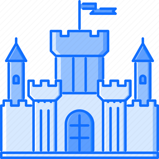 architecture, building, castle, flag, stronghold, wall icon