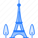 architecture, building, eiffel, paris, sight, tower, tree icon
