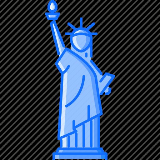 architecture, building, liberty, sight, statue, torch icon