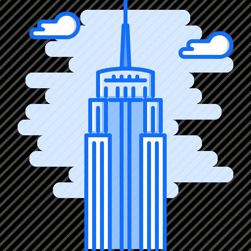 architecture, building, cloud, empire, sight, skyscraper, state icon