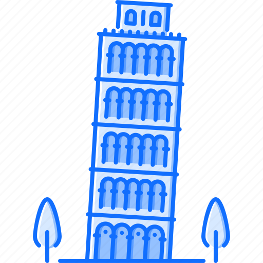 architecture, building, leaning, pisa, sight, tower icon