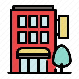 building, business, city, hotel, motel, small icon