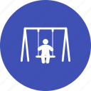 child, fun, park, playground, swinging, town