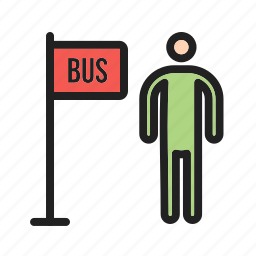 bus, city, road, shelter, stop, street, transport icon