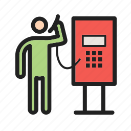 booth, communications, locations, pay, street, telephone, town icon