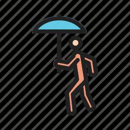 autumn, rain, season, spring, umbrella, walk, walking icon