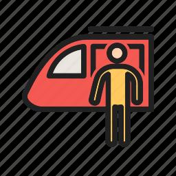 people, platform, railway, station, train, transport, travel icon
