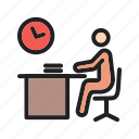 computer, late, night, office, sitting, work, working icon