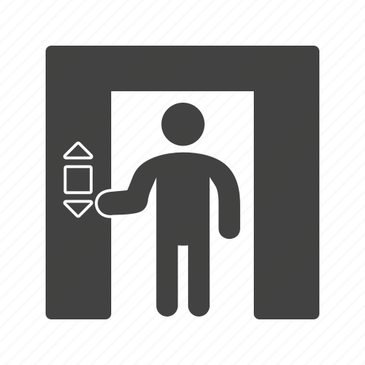 building, door, elevator, floor, lift, peoples, up icon