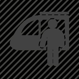people, platform, railway, station, train, travel icon