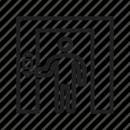 building, door, elevator, floor, lift, peoples, up icon
