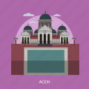 aceh, building, city, indonesian, monument, sky, travel icon