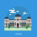building, city, indonesian, medan, monument, travel icon