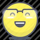 emoji, emotion, face, glasses, smile icon