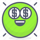 emoji, emotion, face, millionaire, smile icon
