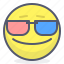 emoji, emotion, face, glasses, movie, smile icon